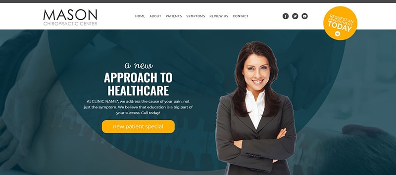 Chiropractic Website with Gold Accent Color