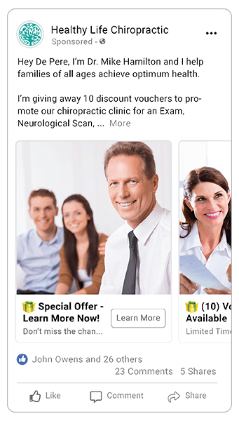 Chiropractic Facebook Ad Idea
